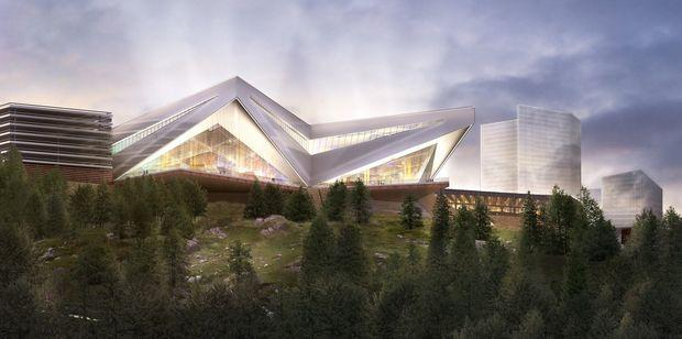 A rendering of Mohegan Sun's proposed design for a Western Massachusetts casino in Palmer. The developer and the town have reached an agreement, announced Thursday.