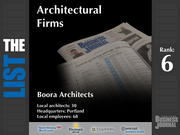 6: Boora Architects  The full list of top architectural firms - including contact information - is available to PBJ subscribers.  Not a subscriber? Sign up for a free 4-week trial subscription to view this list and more today