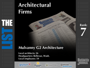 7: Mulvanny G2 Architecture  The full list of top architectural firms - including contact information - is available to PBJ subscribers.  Not a subscriber? Sign up for a free 4-week trial subscription to view this list and more today