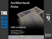 9 (tied): GBD Architects  The full list of top architectural firms - including contact information - is available to PBJ subscribers.  Not a subscriber? Sign up for a free 4-week trial subscription to view this list and more today