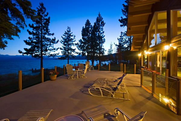 The main house at Sierra Star Estate. Listed for $49 million, the property includes four homes on acreage fronting Lake Tahoe.