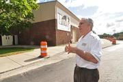 John D'Argenio, athletics director at Siena, stands where a new main entrance (a glass-walled lobby) will be built.