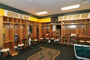 The men's basketball locker room at Siena. The team plays its home games off-campus, at the Times Union Center, in downtown Albany.
