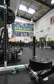 The strength and conditioning room at Siena. The new space will be almost twice as large.
