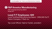 F&P America Manufacturing is the No. 6 manufacturing company.
