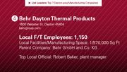 Behr Dayton Thermal Products is the No. 4 manufacturing company.
