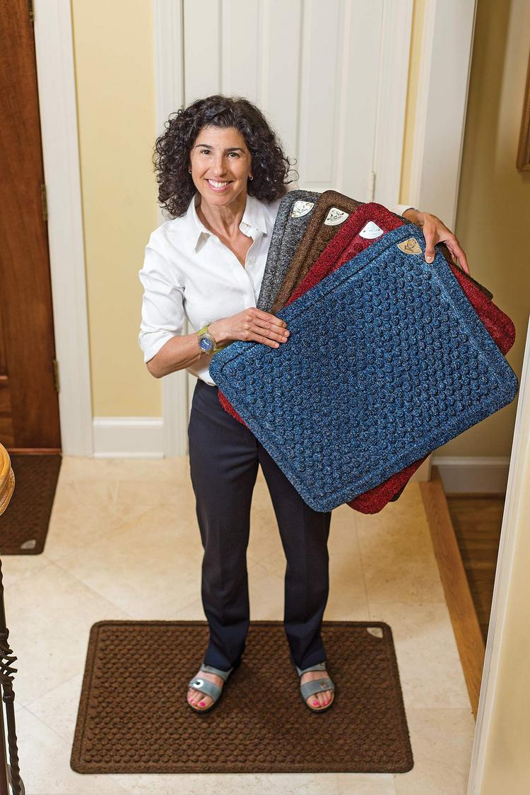 Debbie Greenspan's company Dr. Doormat makes antimicrobial-treated doormats.