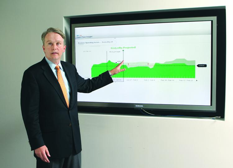 PNC Financial Services Group Inc.'s Troy Baker displays Cash Flow Insight, designed for small business owners.