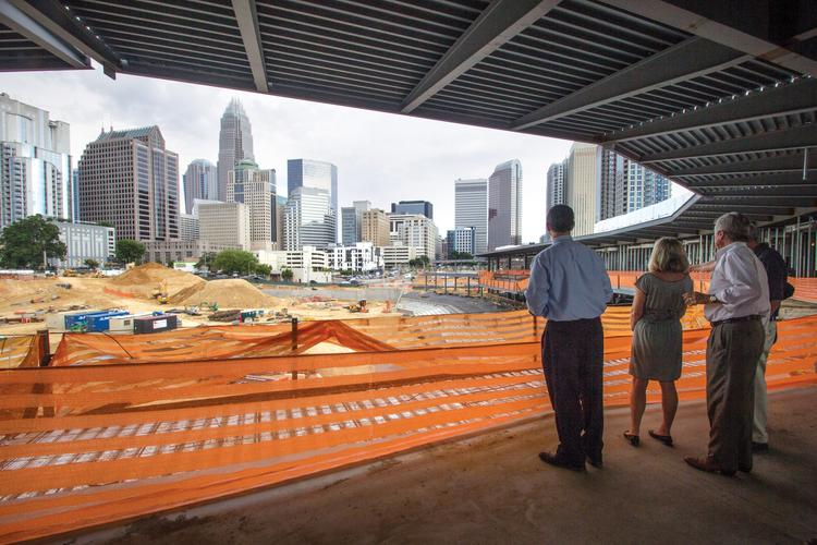 Uptown Charlotte overlooks the new BB&T Ballpark.