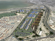 A rendering of the new logistics and shipping center at the former Oakland army base.