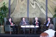 A panel discussion on energy featured (from left) Dan Dinges, chairman, president and CEO of Cabot Oil & Gas; Greg Ebel, president and CEO of Spectra Energy; David McClanahan, president and CEO of Centerpoint Energy and chairman of the Greater Houston Partnership; and Tom Skains, Piedmont Natural Gas CEO, who moderated the discussion.