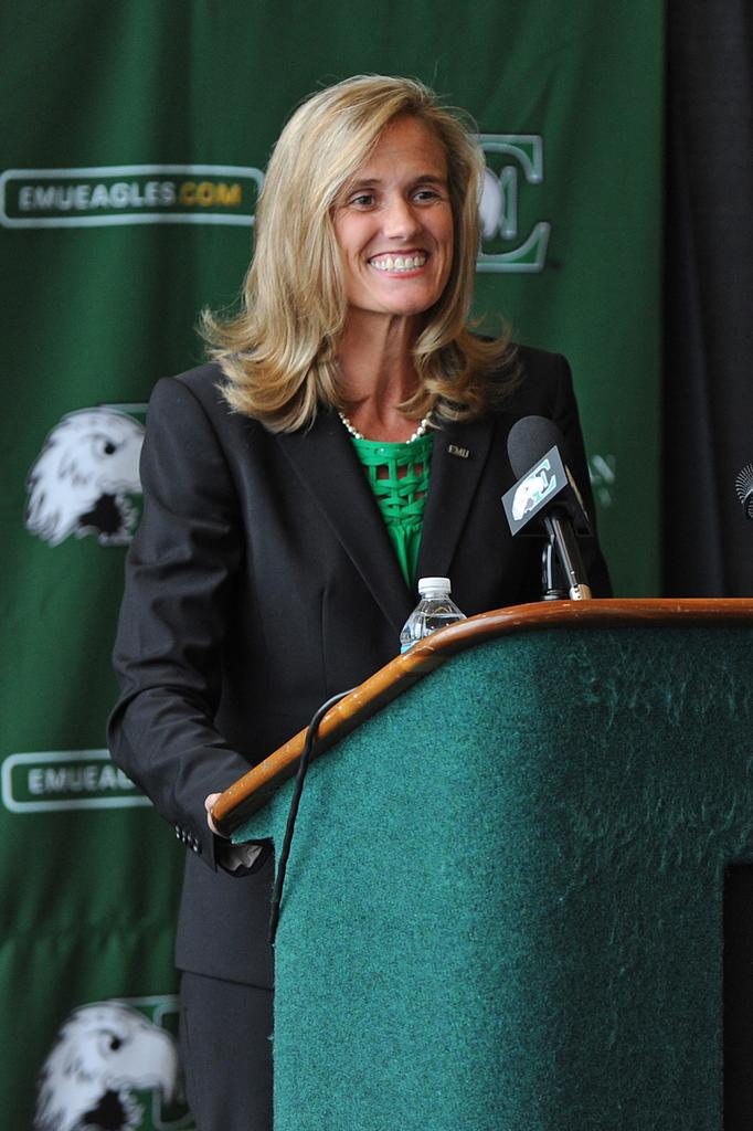 Former Ohio State University official Heather Lyke has been introduced as the new athletic director at Eastern Michigan University,