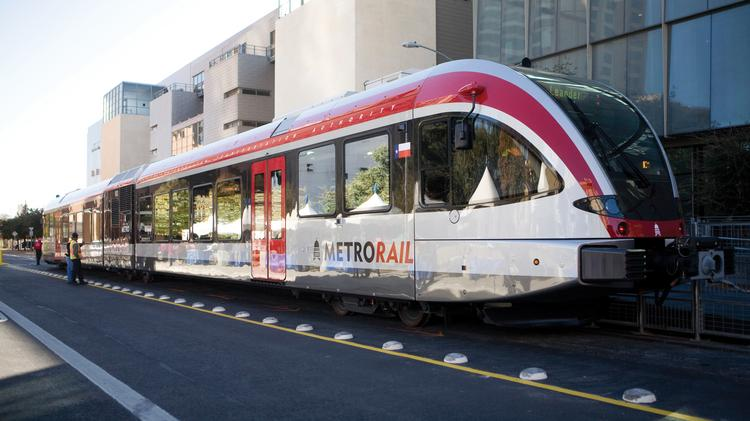 Project Connect's Friday briefing to the Central Corridor Advisory Group offered the most complete vision of the city's proposed transit system to date, but made it clear that planners still have a way to go before offering final vision. Above, an existing MetroRail car.