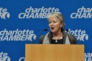 N.C. Commerce Secretary Sharon Decker speaks at the Charlotte Chamber at a welcome announcement for MetLife.