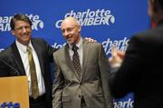 N.C. Gov. Pat McCrory (left) welcomes MetLife Executive Vice President Eric Steigerwalt to Charlotte at the chamber's Friday morning announcement.