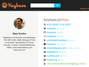 A screenshot of OkCupid founder Max Krohn's profile page on Keybase, his newest project.
