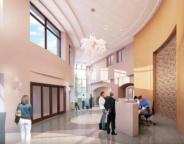 A rendering of the new lobby.