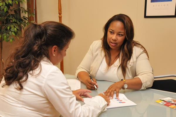 Cynthia Norwood (right) of alt.Consulting counsels Amy Daniels. Financing options are crucial for many minority businesses to fund growth.