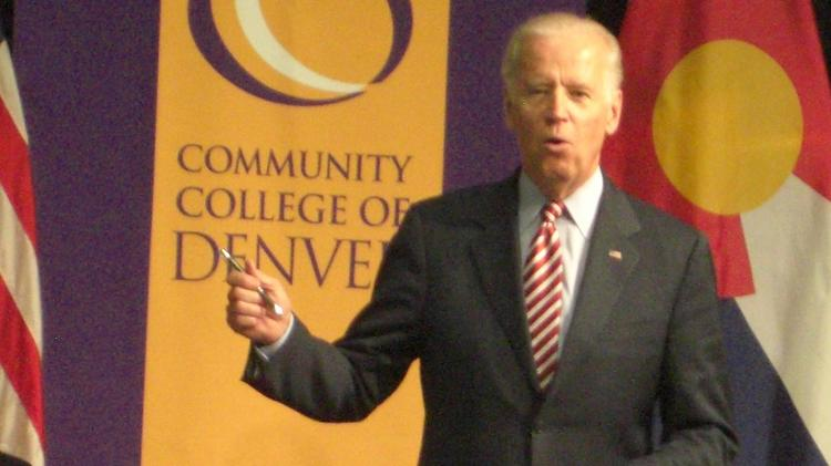 Vice President Joe Biden speaks July 21, 2015, at the Community College of Denver's new Advanced Manufacturing Center.