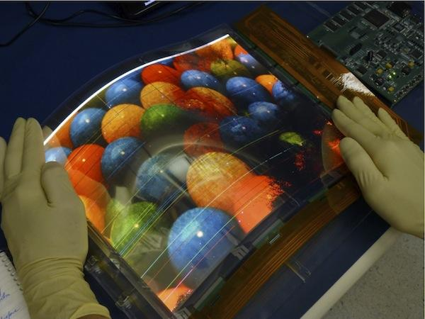 Arizona State University's Flexible Electronics and Display Center has manufactured what it claims to be the world's largest flexible color organic light-emitting display prototype, seen here.