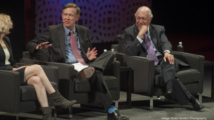 "From left: Dr. Nora Volkow, director of the National Institute on Drug Abuse, Gov. John Hickenlooper and former president of Chile Ricardo Lagos, sit on a Biennial of the Americas panel examining the ""War on Drugs."""
