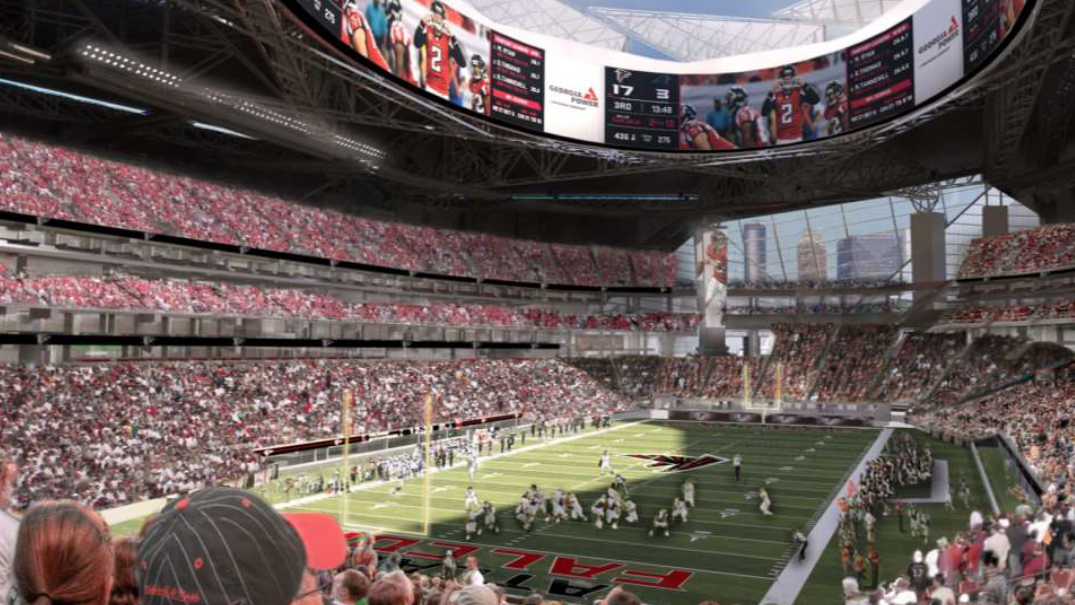 Mercedes benz acquires naming rights to falcons new for Who owns mercedes benz stadium