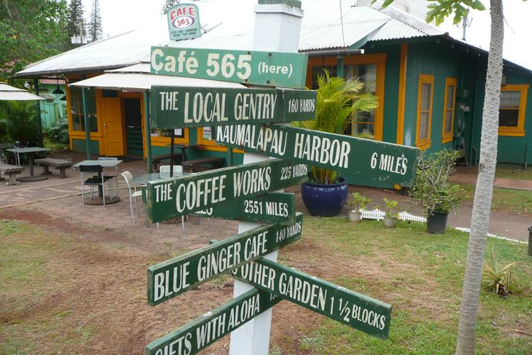 This sign shows the locations of various businesses in Lanai City. Larry Ellison's Pulama Lanai has offered match Maui County small business revitalization grants for small businesses on Lanai.