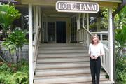 Mary Charles in front of Hotel Lanai.