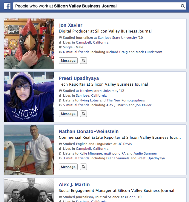 """A partial list of results from Facebook Graph Search for the query, """"People who work at the Silicon Valley Business Journal."""""""