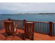 The deck overlooking Marblehead Harbor.