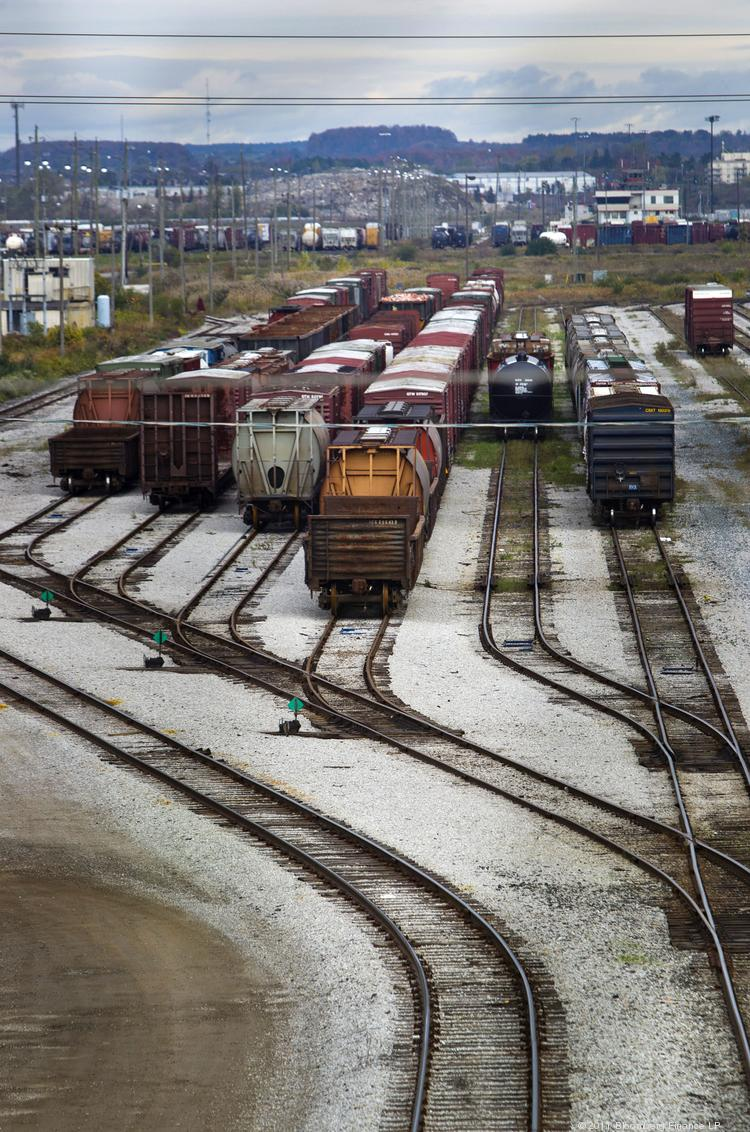 Freight cars sit at the Macmillan Yard in Toronto, Ontario, Canada