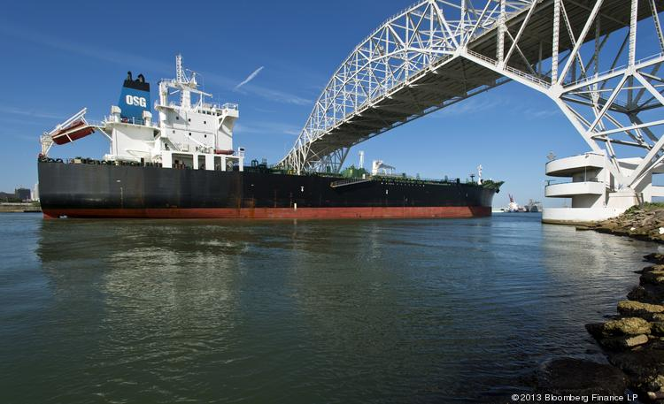 The Overseas Santorini tanker sails under the Harbor Bridge into the Port of Corpus Christi in Corpus Christi, Texas, on Thursday, June 27. The latest data on import and export prices will be released on Thursday.