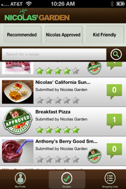 This is a screenshot of the app for Nicolas' Garden. It serves up healthy recipes that are kid friendly -- for cooking.