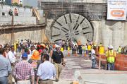 A crowd gathers for the breakthrough of a $1 billion tunnel that will connect  PortMiami to Interstate 395.
