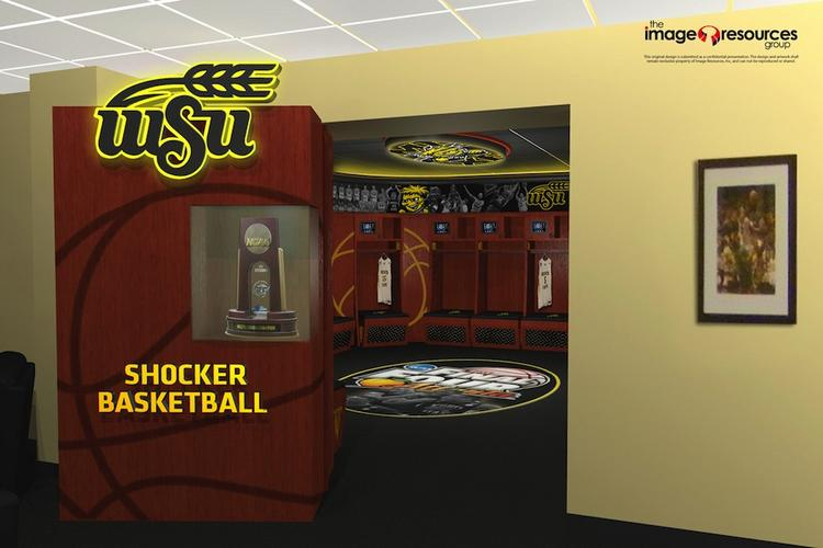 This rendering shows the plans for the men's basketball locker room at Charles Koch Arena on the campus of Wichita State University.