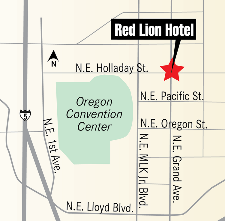 The 173-room Red Lion Hotel is located at 1021 N.E. Grand Ave. in Portland.