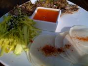 Duck confit-daikon tacos, with curried apple, and orange-coriander sauce