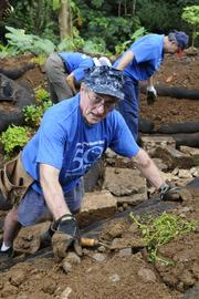 David McCauley and other members of the law firm Damon Key Leong Kupchak Hastert helped to create a sustainable garden at the Lyon Arboretum last month.