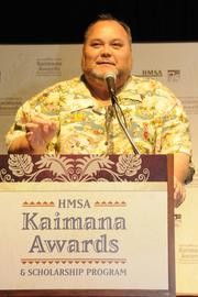 Robert Kekaula, sports director for KITV, welcomes attendees of HMSA's 2013 Kaimana Awards and scholarship program held last month at the Hawaii Convention Center.