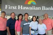 The 19th annual First Hawaiian Bank-Rehabilitation Hospital of the Pacific Foundation golf tournament raised $239,897 in support of the hospital The event was played at the Hawaii Prince Golf Course in late May. From left: John Komeiji, Hawaiian Telcom; Ted McAneely, Prince Resorts Hawaii; Sharon Brown, First Hawaiian Bank; Mark Teruya, Armstrong Produce, Ltd.; Gloria Gainsely and Edith Leong, community volunteers; and Raymond Ono, also with First Hawaiian Bank.