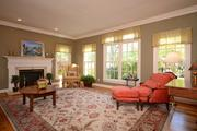 The living room features plenty of natural light and another fireplace.