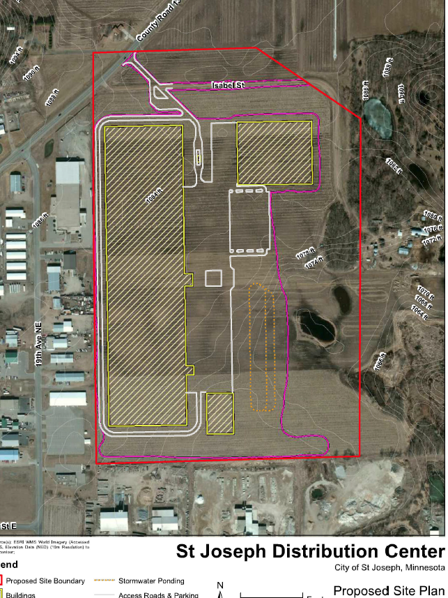 worker warehouse in St  Joseph moves ahead   Minneapolis   St     The Business Journals This site plan shows the         square foot distribution center proposed in St