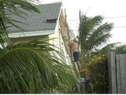 People try to fix their roof on Singer Island after Hurricane Frances.