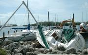 Boats driven aground at Dinner Key in the aftermath of Hurricane Katrina.