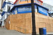 Beach Place in Fort Lauderdale is boarded up for Hurricane Isaac.