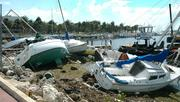 More boats driven aground at Dinner Key in the aftermath of Hurricane Katrina.