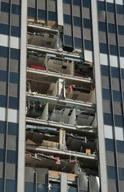 An office building in Fort Lauderdale is damaged after Hurricane Wilma.