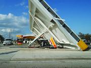 The roof of a Shell station collapses at the corner of Atlantic Boulevard and Powerline Road in Pompano Beach.