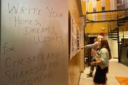 Guests at the groundbreaking were invited to share their hopes and dreams for Chesapeake Shakespeare.