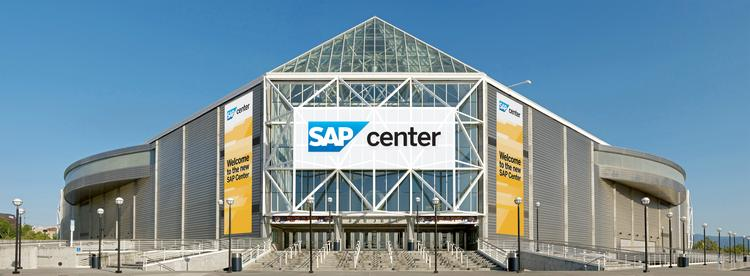 A rendering of the new SAP Center in downtown San Jose. The target date to actually hang the new SAP sign is September. Click above to see more images of the arena and Tuesday's ceremony.